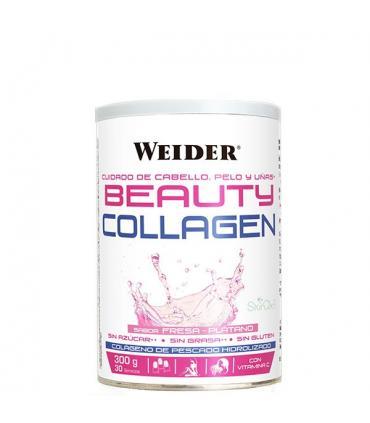 Weider Beauty Collagen Colágeno para cuidado del cabello, pelo y uñas sabor Fresa Plátano 300g