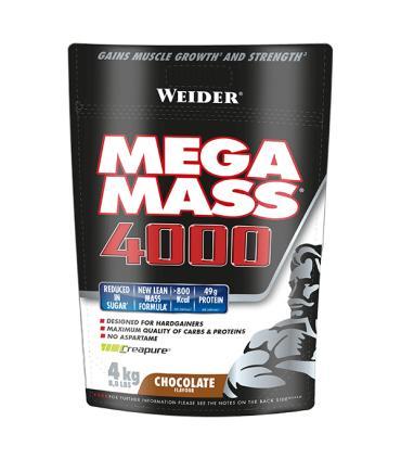 Weider Mega Mass 4000 Energía y proteínas de alta calidad sabor Chocolate 4kg