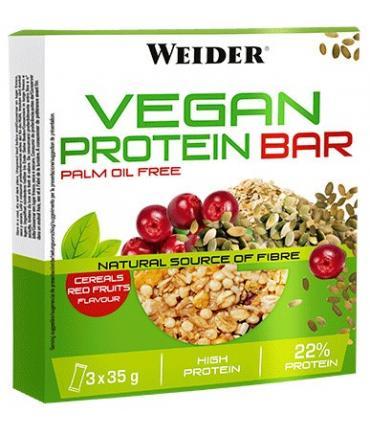 Weider Vegan Protein Bar Barrita energía y proteína vegetal sabor Frutos Rojos 3 unidades de 35g
