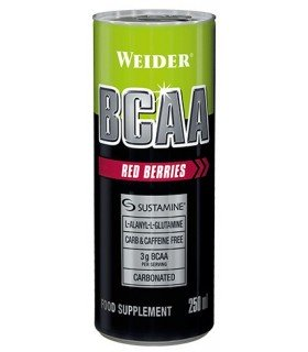 Weider BCAAs RTD Bebida con aminoácidos para crecimiento y mantenimiento de músculos sabor Frutos Rojos 250ml