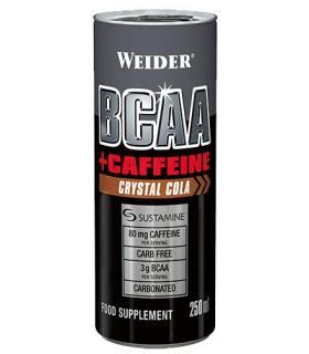 Weider BCAAs RTD + Cafeína Aporte de energía necesaria para el entrenamiento sabor Cola 250ml