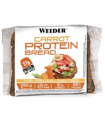 Weider Pan con proteína ,zanahoria, fibra, bajo en calorías e hidratos