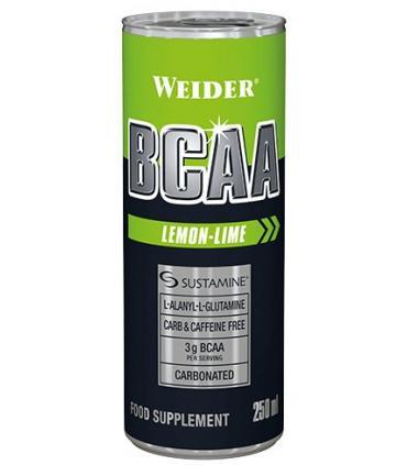 Weider BCAAs RTD Bebida con aminoácidos para crecimiento y mantenimiento de músculos sabor Lima Limón 250ml