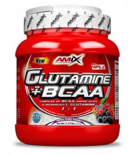 Amix Glutamina + BCAA Fuente de Aminoácidos y L-Glutamina sabor Frutas del Bosque 500 gramos