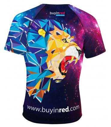 Camiseta manga corta 42K Running con diseño de León y Universo para correr transpirable