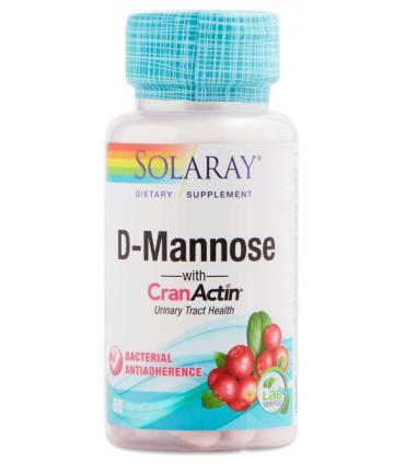 Solaray D-Mannose CranActin infección de orina y cistitis 60 cápsulas