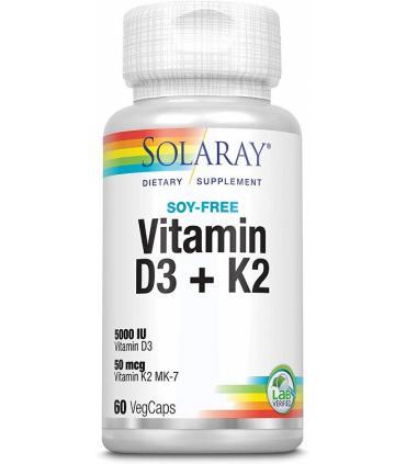 Solaray Vitamina D3 + K2 salud cardiovascular y arterial 60 cápsulas