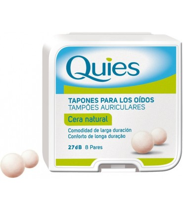 Quies cera natural tapones para protección auditiva 27dB 8 pares