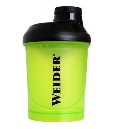 Mezclador Weider verde para batir suplementos en polvo