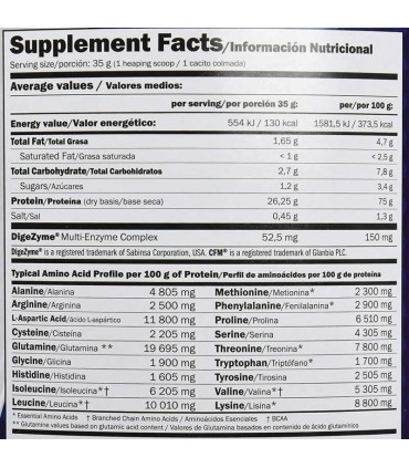 información nutricional Amix fusión