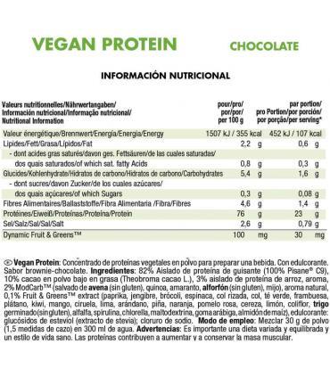 ingredientes Weider vegan protein