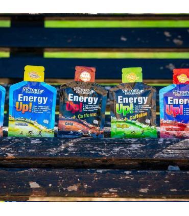 ilustración geles Energy UP en banco de madera