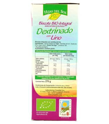 información nutricional pan dextrinado de lino Ynsadiet Hijas del Sol