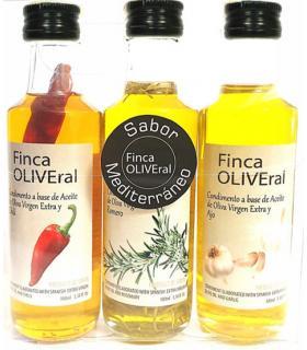 Queen of Truffles Pack aceite de oliva con romero, chili y ajo 3x100 ml