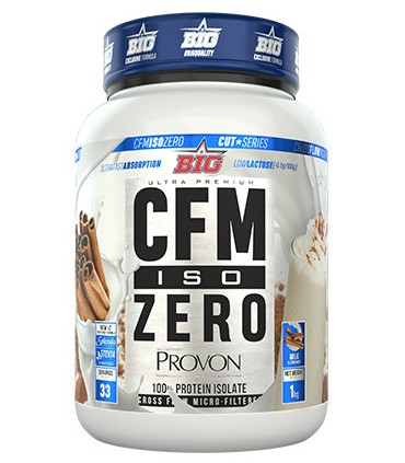 Bote de proteína Big Supplements Iso CFM Zero sabor leche con canela 1KG