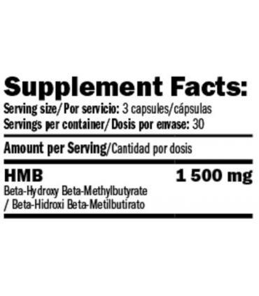información nutricional Amix Performance HMB 1500 en cápsulas