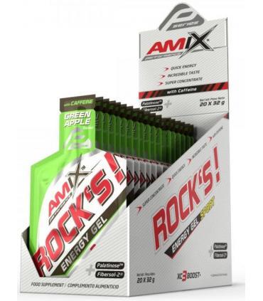 Caja geles Amix Rocks Energy sabor manzana con cafeína