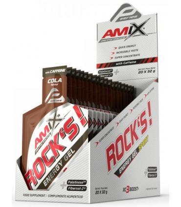 Caja geles Amix Rocks Energy sabor cola con cafeína