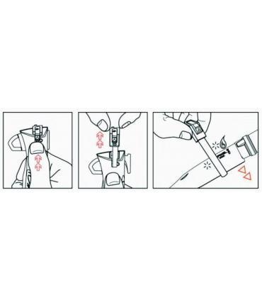 explicación funcionamiento encendedor por fricción para acampada Opinel