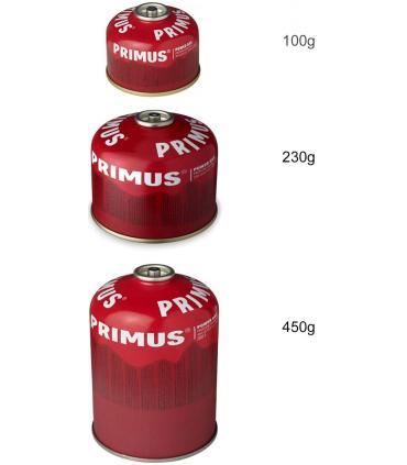 Tamaños y capacidades cartuchos de gas Primus Power Gas 100g, 230g y 450g