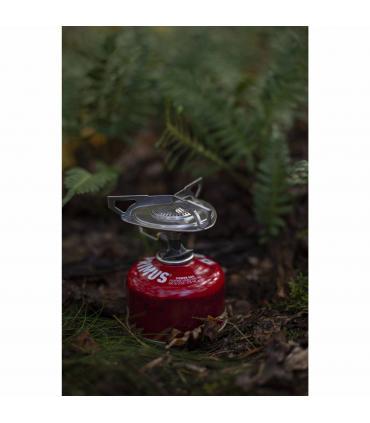 hornillo de gas butano Primus en el bosque
