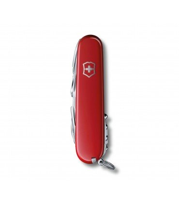 Navaja suiza roja plegada en posición vertical