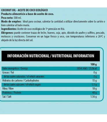 Información nutricional Coconut Oil Be Essential